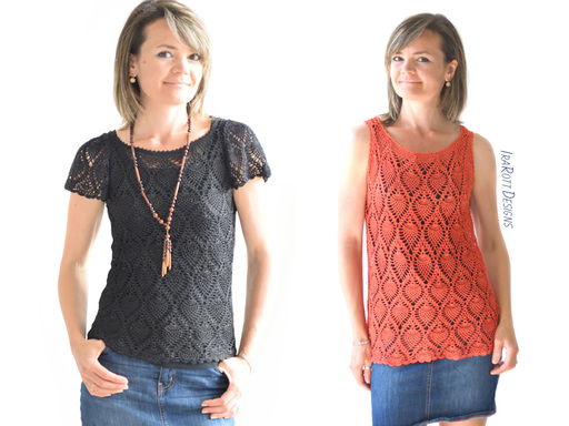 Crochet Blouse Pattern tutorial for making a Pineapple Lace Top by IraRott
