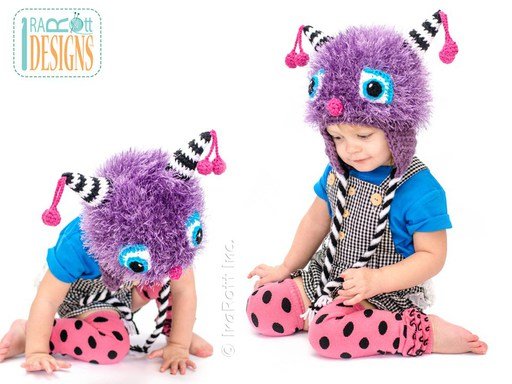 PDF Crochet Pattern for making a Furry Monster Hat with Horns for all sizes