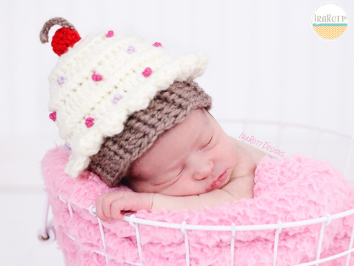 Cherry Cupcake Beanie Hat Crochet Pattern for Babies and Infants by IraRott