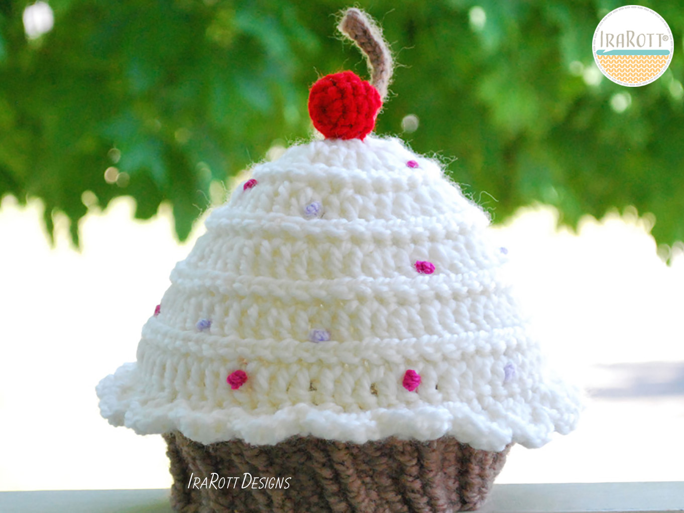 Cherry Cupcake Beanie Hat With Sprinkles Pdf Crochet Pattern