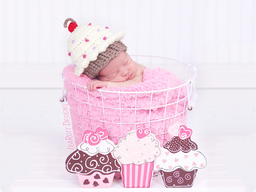 PDF Crochet Pattern for making a Cherry Cupcake Beanie Hat with Sprinkles