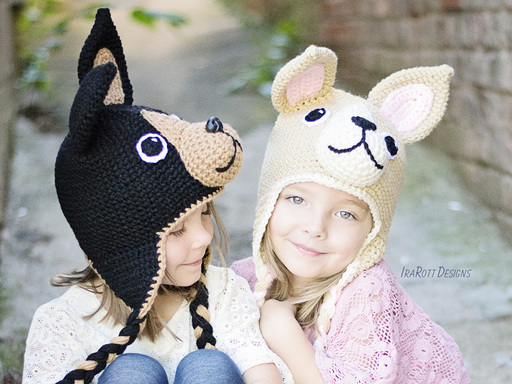 PDF Crochet Pattern for making a cute Chihuahua Puppy Dog Hat with big Ears