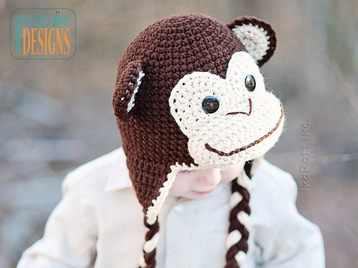 PDF Crochet Pattern for making a cute Chimpanzee Monkey Hat for all sizes