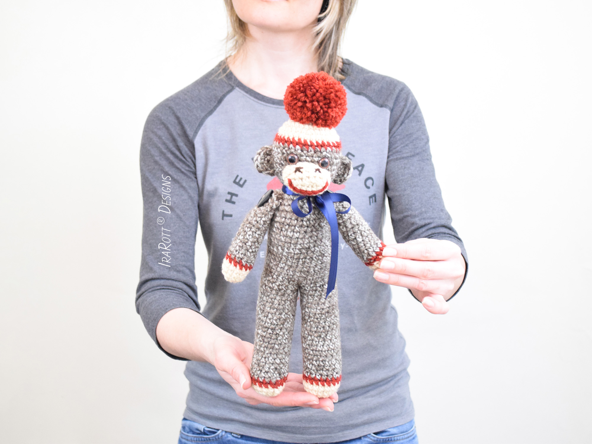 Amigurumi Monkey Patterns : Classic twist sock monkey doll inch tall pdf crochet pattern