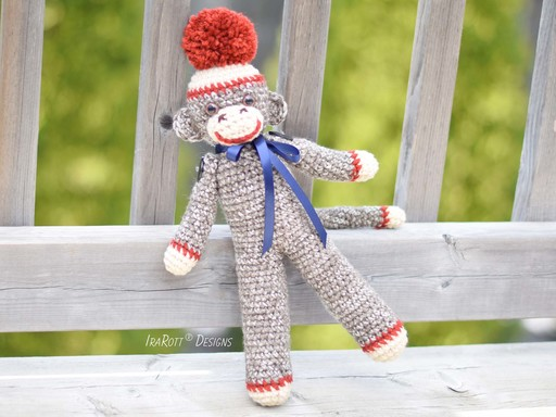 PDF Crochet Pattern for making a medium size Sock Monkey Amigurumi Toy