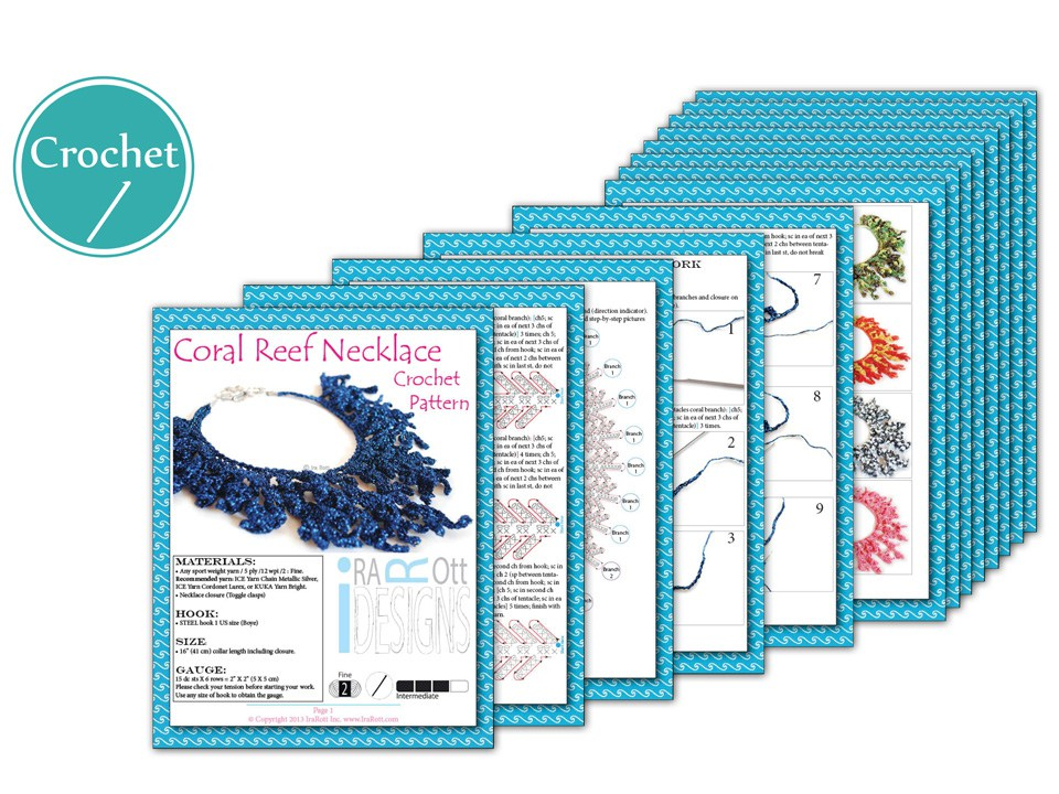 Coral Reef Necklace Pdf Crochet Pattern Irarott Inc