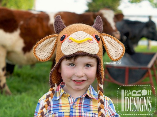 Cow or Bull Animal Hats with Horns Crochet Pattern for babies kids and adults by IraRott