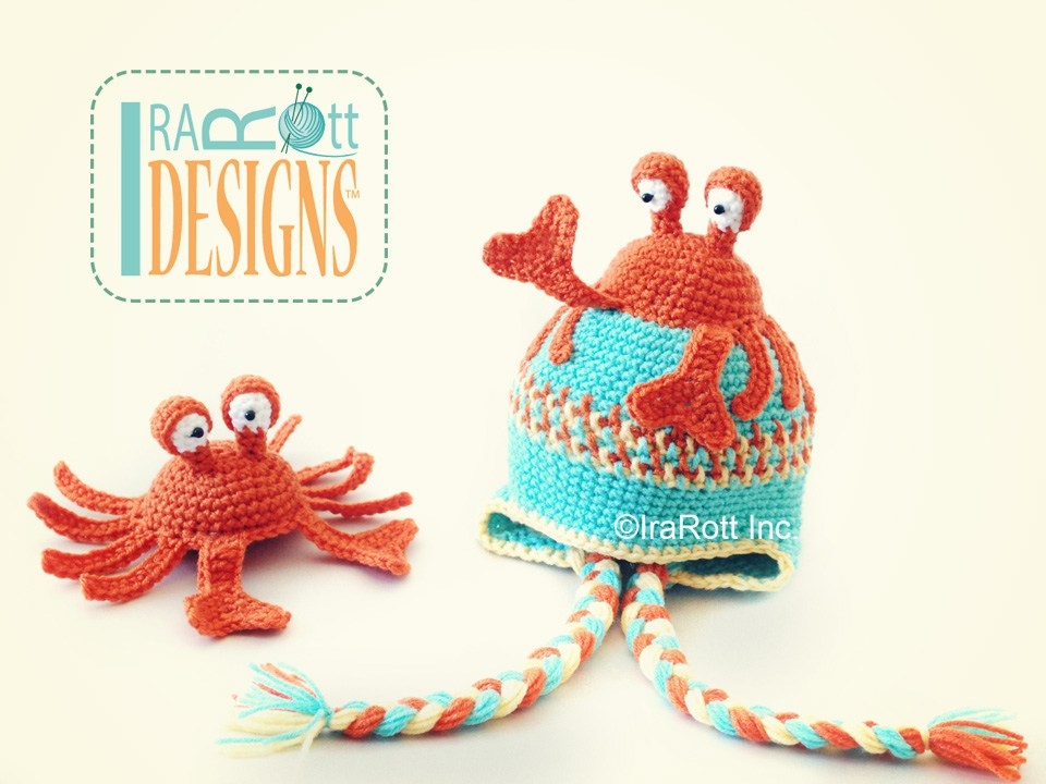 Cranky the Crab Hat and Amigurumi Toy Set PDF Crochet Pattern ...