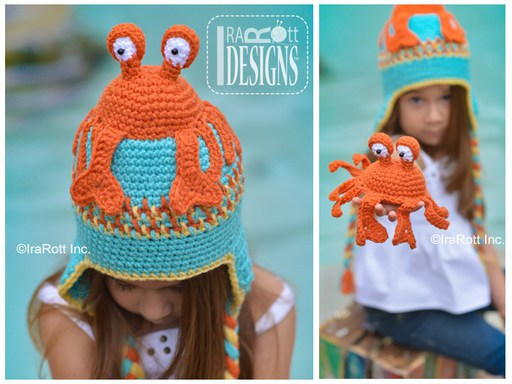Crab Animal Hat for all sizes with Amigurumi Toy Crochet Pattern by IraRott