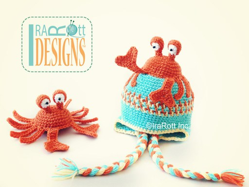 PDF Crochet Pattern for making a cute Crab Hat for all sizes with Matching Amigurumi Toy.