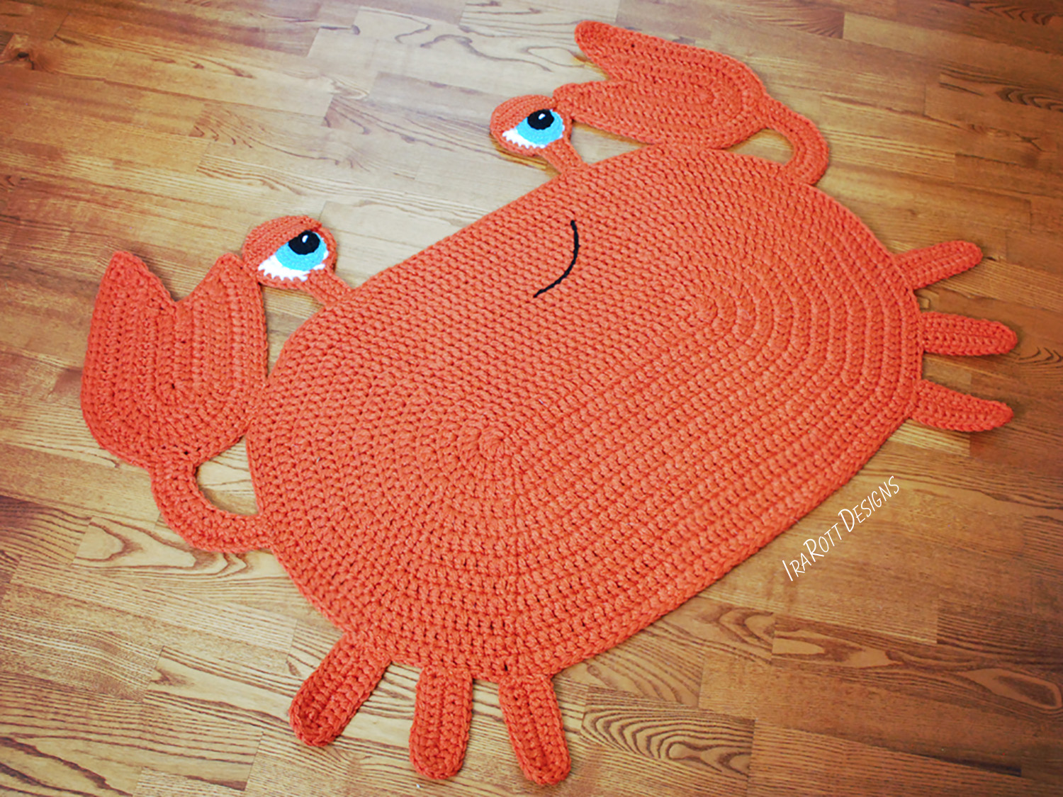 Crochet Pattern Pdf For Making A Cute Crab Sea Creature Animal Rug Or Nursery Mat Carpet