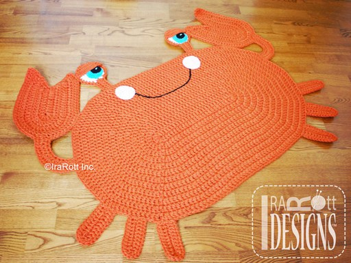 Crochet Pattern PDF for making a cute Crab Sea Creature Animal Rug or Nursery Mat Carpet for Home Decor
