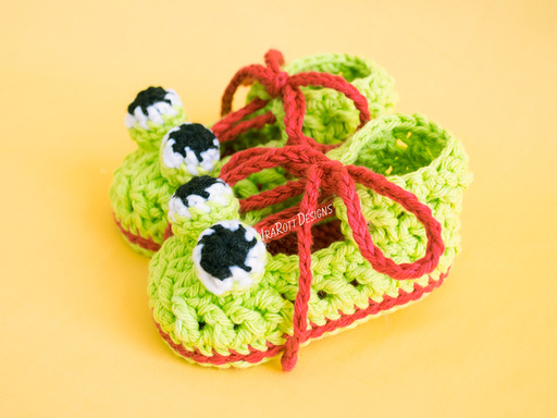 Crazy Eyes Double Sole Baby Frog Animal Booties Crochet Pattern PDF