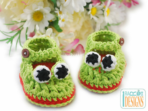 Crazy Eyes Double Sole Baby Frog Booties Crochet Pattern