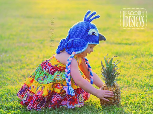 Parrot or Blue Jay Animal Hat Crochet Pattern for babies kids and adults by IraRott Inc