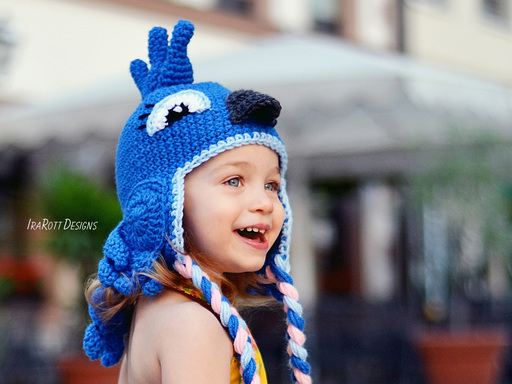 Parrot or Blue Jay Animal Hat Crochet Pattern for boys and girls of all ages by IraRott Inc
