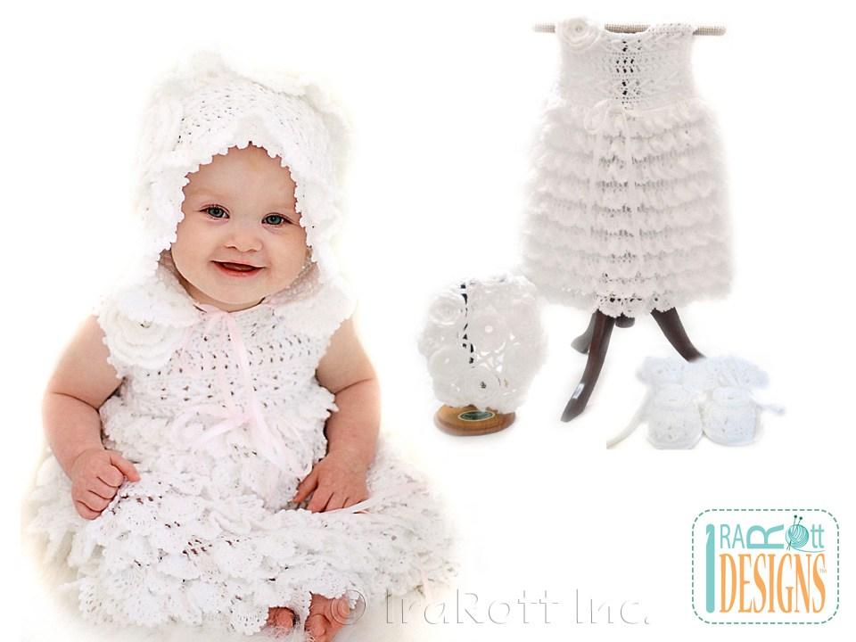 Christening Dress, Booties, Beret and Bonnet PDF Crochet Pattern ...