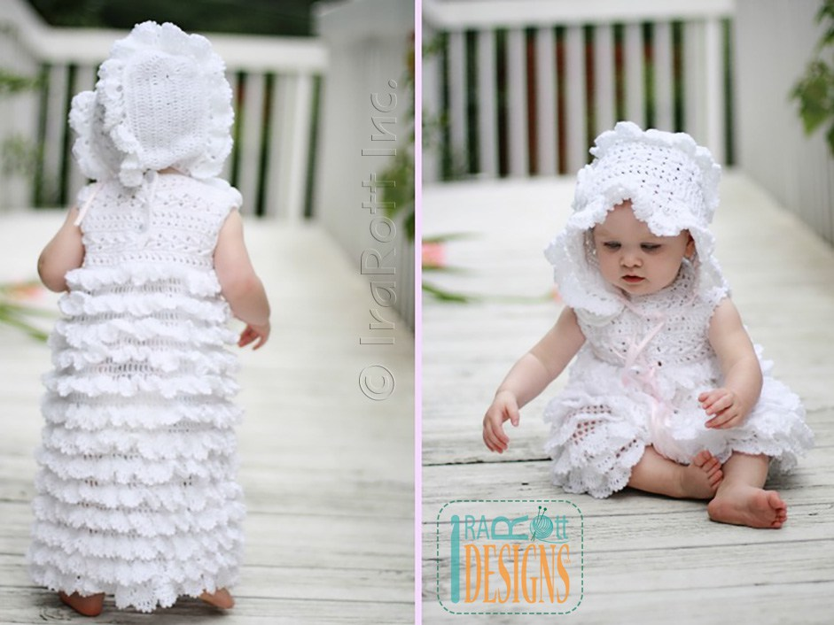 Christening Dress Booties Beret And Bonnet Pdf Crochet
