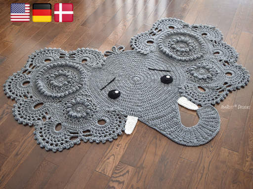 Crochet Pattern PDF for making a beautiful Elephant Animal Rug or Nursery Mat with Big Lace Ears