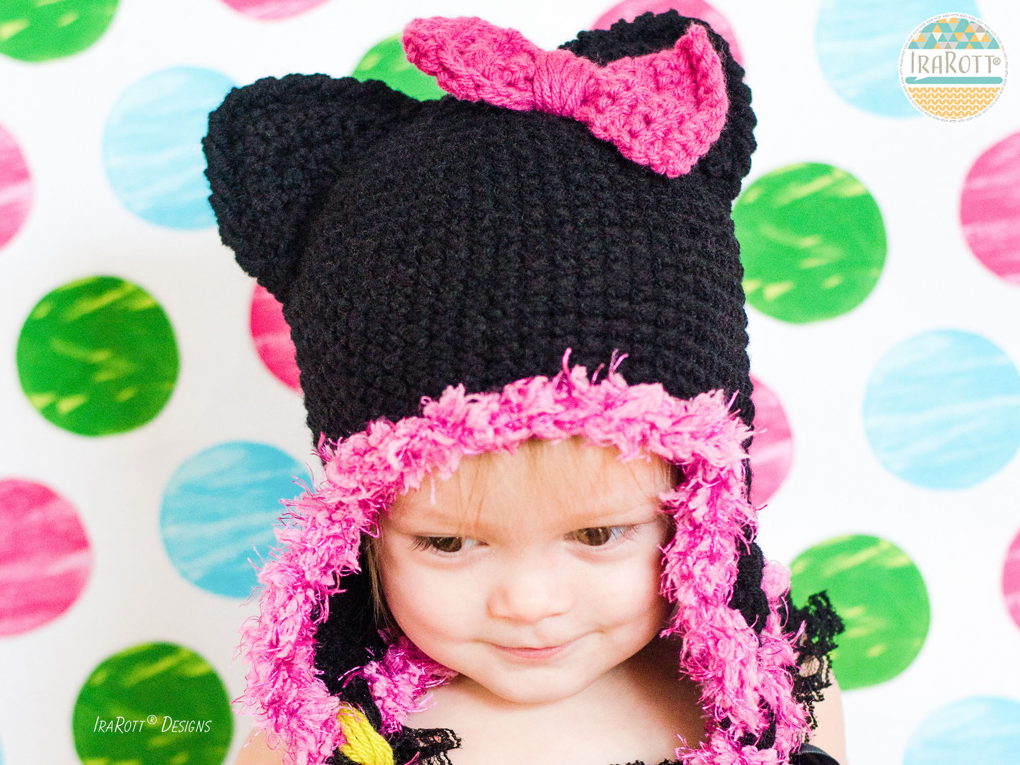 Kitty Cat Animal Hat Crochet Pattern for Babies Kids and Adults by IraRott