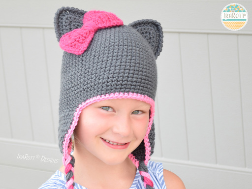 Kitty Cat Animal Hat Crochet Pattern for Newborns Infants and Toddlers by IraRott