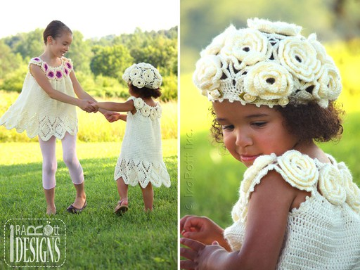 Summer Dress Beret Crochet Pattern for girls by IraRott