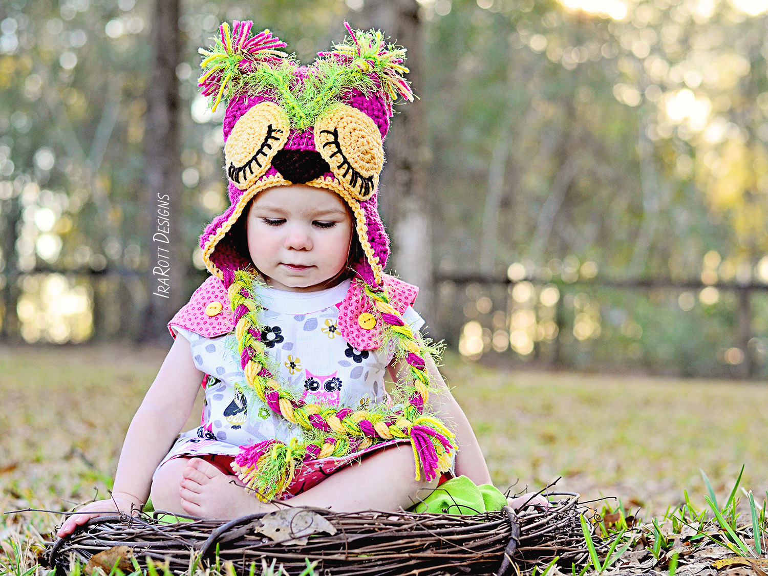 Pink Berry Owl Hat Pdf Crochet Pattern Irarott Inc