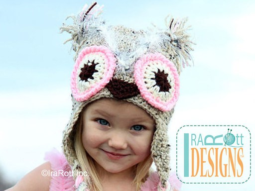 Owl Animal Hat Crochet Pattern for babies kids and adults by IraRott