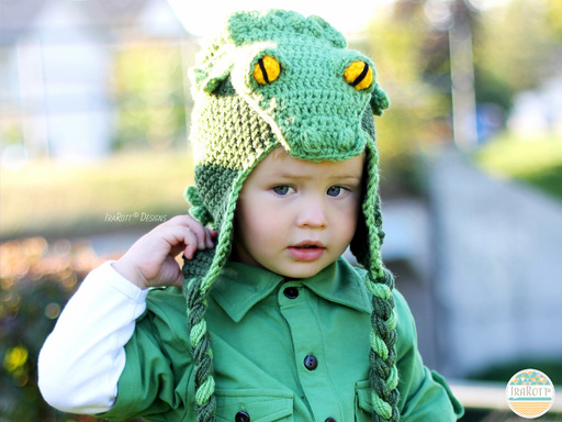 Crocodile animal hat Crochet Pattern for boys and girls of all ages by IraRott