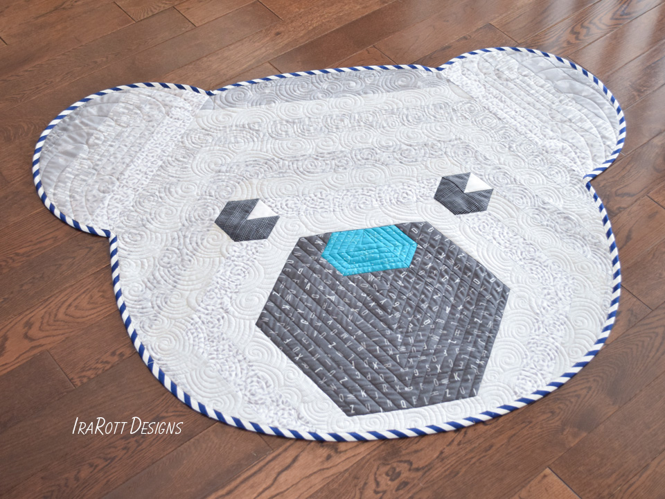 Cuddles The Hexi Bear Jelly Roll Rug PDF Quilting Pattern By IraRott