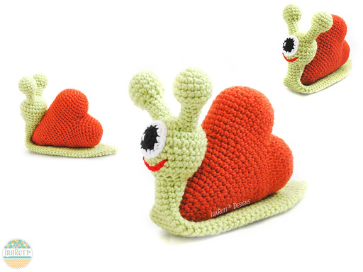 Crochet Pattern PDF for making Amigurumi Snail Monster with a Heart