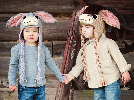 Donkey Animal Hat Crochet Pattern for boys and girls of all ages by IraRott