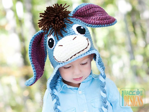 Donkey Animal Hat Crochet Pattern for babies kids and adults by IraRott
