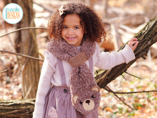 Crochet Pattern PDF for making a cute chunky Teddy Bear Scarf by IraRott Inc.