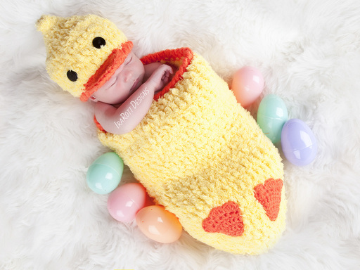 Duck Animal Hat and Cocoon Photo Prop Set Crochet Pattern for Newborns