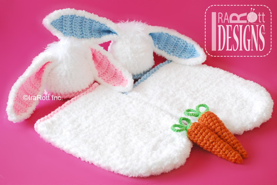 Bunny Rabbit Baby Hat and Cocoon Set with Carrot PDF Crochet Pattern ...