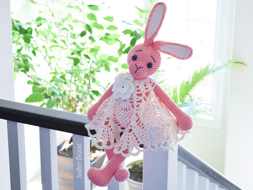 PDF Crochet Pattern for making a cute Bunny Amigurumi Toy in Pineapple Dress & matching Headband