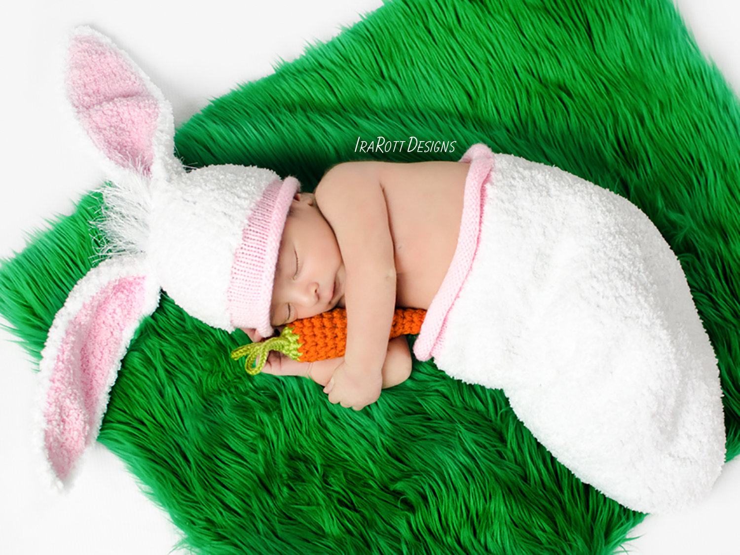 Baby Bunny Animal Hat and Cocoon Photo Prop Set with Carrot Knit Pattern by IraRott