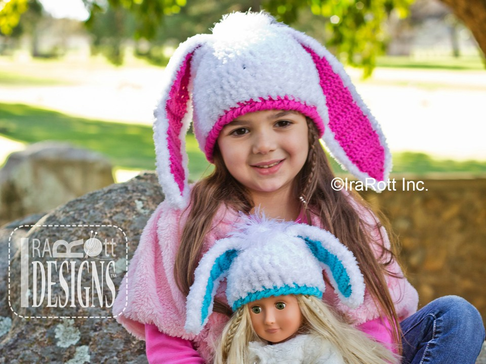 Bunny Rabbit Hat with Long Ears PDF Crochet Pattern - IraRott Inc.