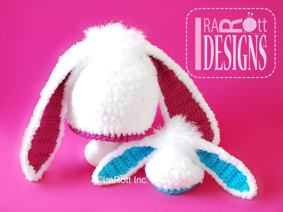 Crochet Bunny Ears Hat Pattern : Bunny Rabbit Hat with Long Ears PDF Crochet Pattern ...