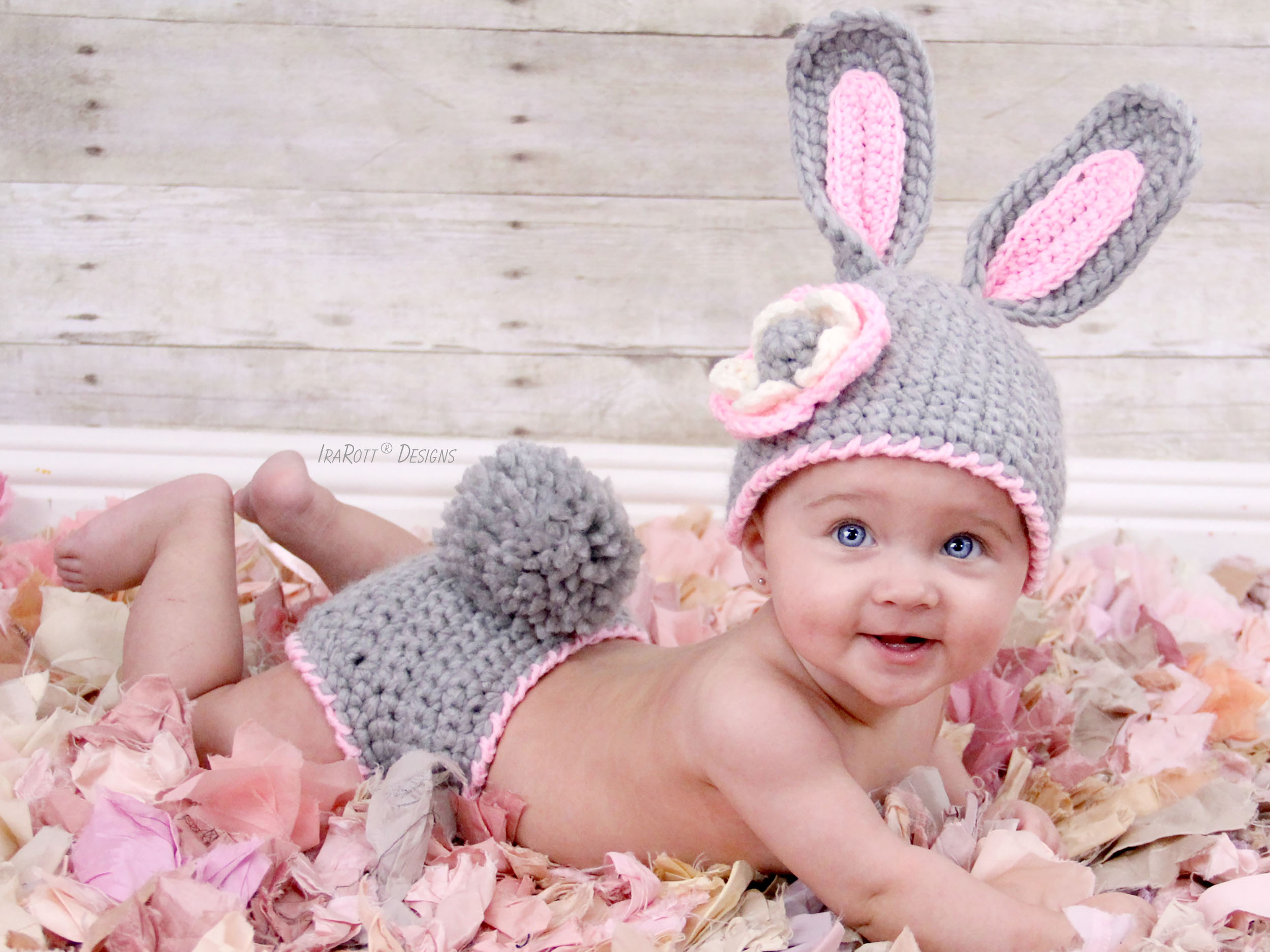 2f4d11e70ab Easter Bunny Hat and Diaper Cover Set PDF Crochet Pattern - IraRott Inc.