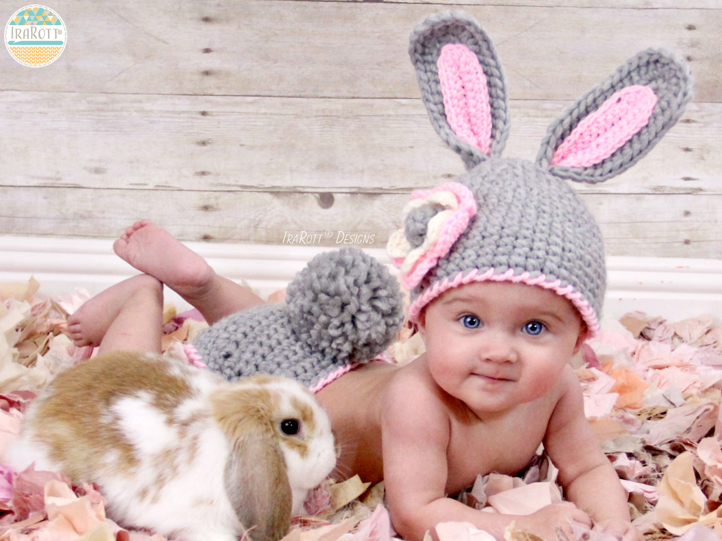 Crochet Bunny Hat With Flower Pattern : Easter Bunny Hat and Diaper Cover Set PDF Crochet Pattern ...
