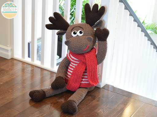 Crochet PDF pattern by IraRott for making a big moose amigurumi stuffed animal using Bernat Blanket yarn