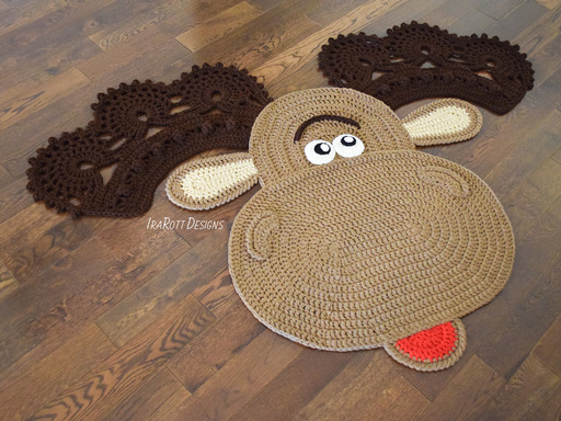 Crochet pattern PDF by IraRott for making an adorable moose rug or reading mat for Christmas