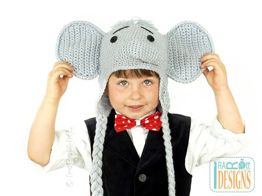 Elephant Animal Hat Crochet Pattern for Boys and Girls of all ages by IraRott