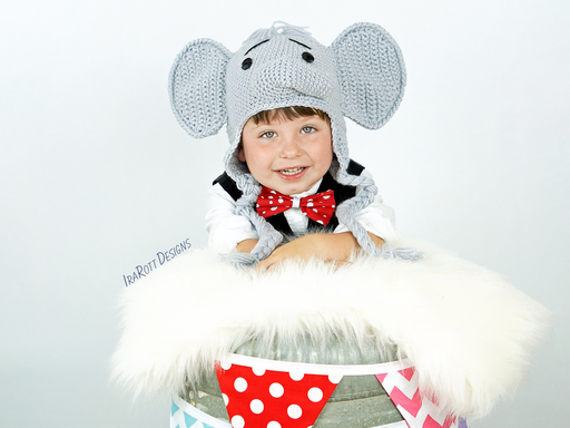 Elephant Animal Hat Crochet Pattern for Babies Kids and Adults by IraRott