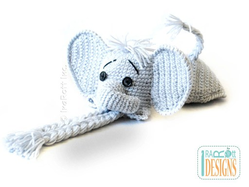 PDF Crochet Pattern for making an adorable Baby Elephant Hat and Diaper Cover Photo Prop Set.