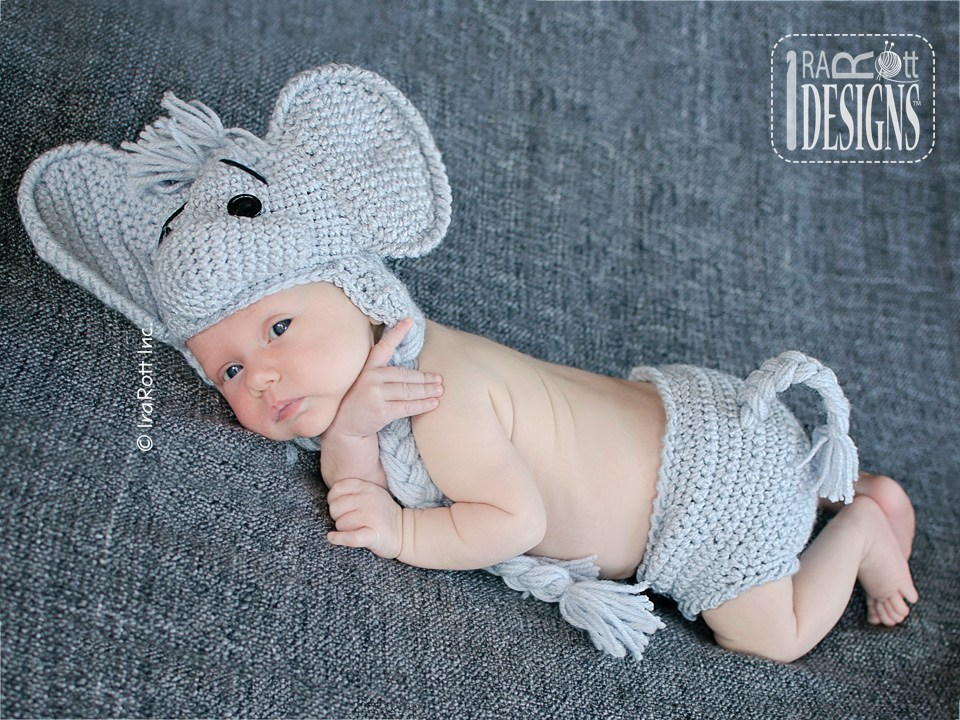 Jeffery Jr The Elephant Hat And Diaper Cover Baby Set Pdf Crochet
