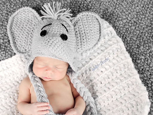 Crochet Pattern For Baby Elephant Hat : Jeffery Jr the Elephant Hat and Diaper Cover Baby Set PDF ...