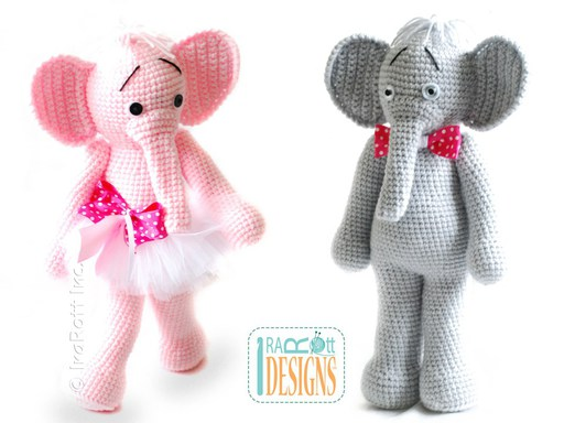 PDF Crochet Pattern for making a cute Ballerina Elephant Amigurumi Stuffed Toy